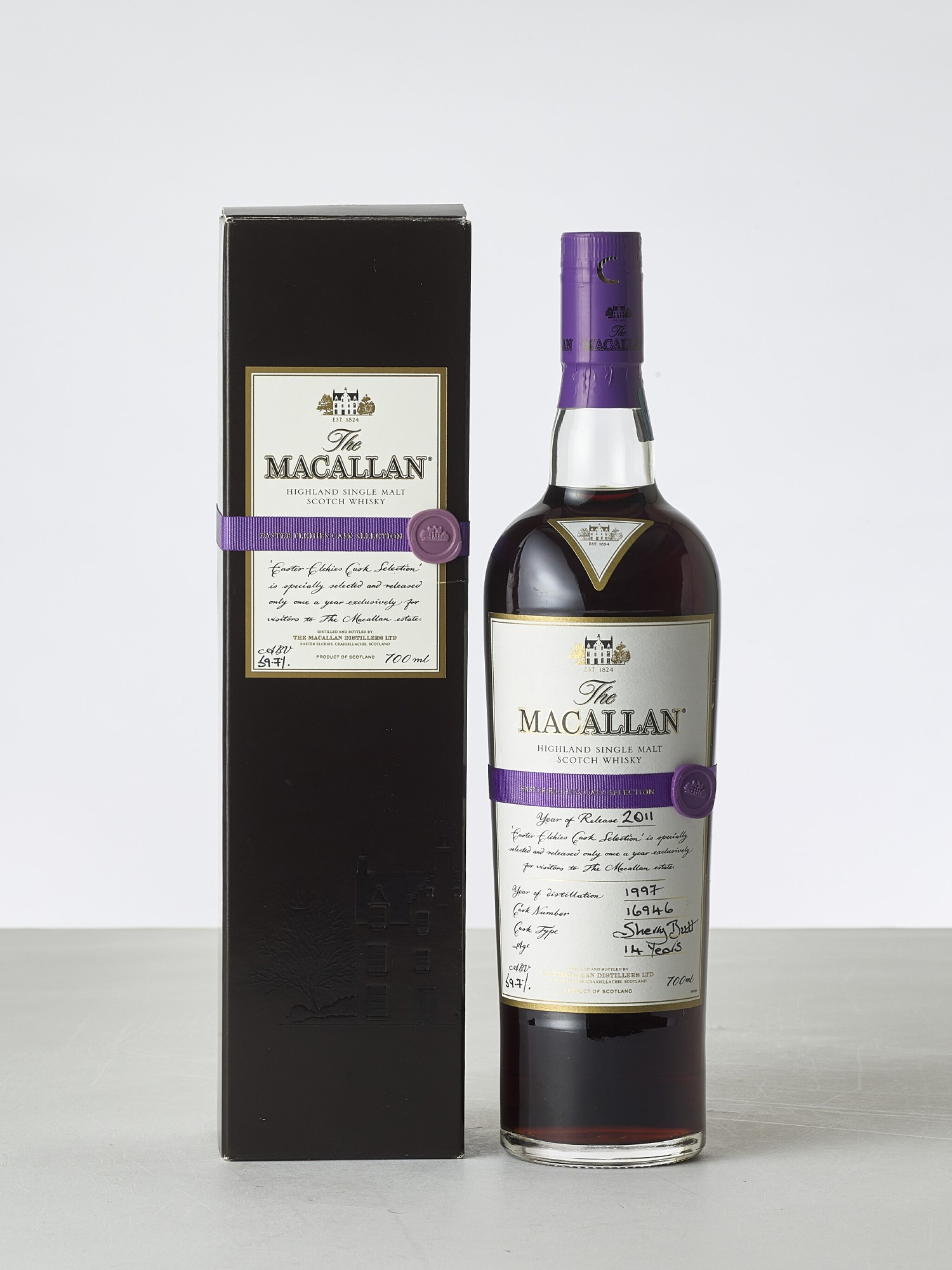 View 1 of Lot 2026. The Macallan Easter Elchies Cask Selection 1997 (1 BT70).