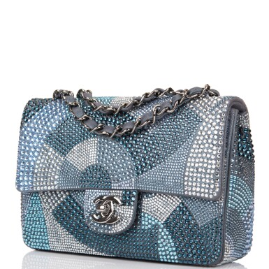 View 5. Thumbnail of Lot 31. Chanel Multicolor Strass Flap Bag of Swarovski Crystals and Grey Leather with Silver Tone Hardware.