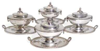 A MATCHED SET OF FOUR GEORGE III SILVER SAUCE TUREENS, COVER AND STANDS, ANDREW FOGELBERG, LONDON, 1771 & 1773