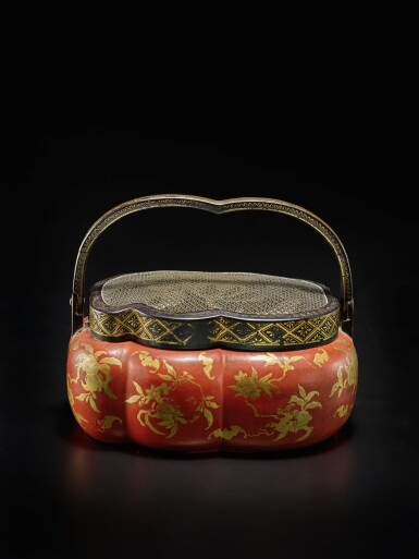 View 1. Thumbnail of Lot 220. A rare red and gilt-lacquer handwarmer, Qing dynasty, 18th / 19th century | 清十八 / 十九世紀 朱漆描金福壽雙全紋手爐.
