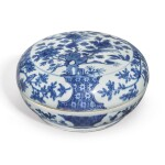 A BLUE AND WHITE 'BIRD AND FLOWER' SECTIONED BOX AND COVER, WANLI MARK AND PERIOD
