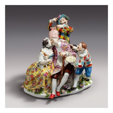 A RARE MEISSEN FIGURE GROUP, 'THE MOCKERY OF AGE' CIRCA 1740-45
