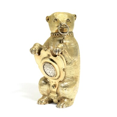 View 1. Thumbnail of Lot 6. A German silver-gilt cup and cover in the form of a bear, maker's mark only MV conjoined (the shield Melchior Bair), Augsburg, circa 1600.