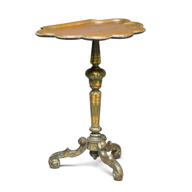 View 2. Thumbnail of Lot 141. An unusual William and Mary green japanned copper tripod table, late 17th century.