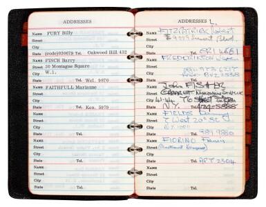View 3. Thumbnail of Lot 46. BRIAN EPSTEIN | Address book, 1967.