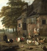 DIRCK WIJNTRACK | POULTRY YARD WITH TWO COCKS FIGHTING