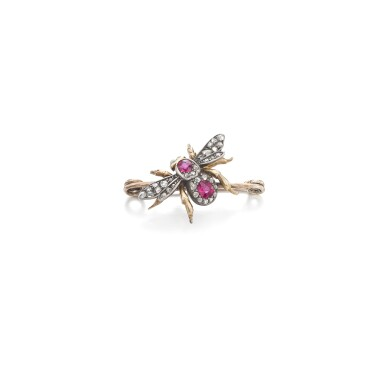 View 1. Thumbnail of Lot 66. Ruby and diamond brooch.