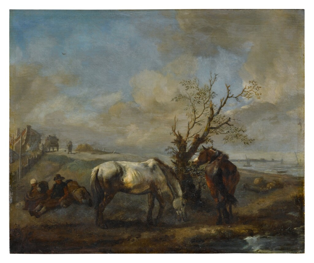 PHILIPS WOUWERMAN     TWO HORSES RESTING BY A TREE AND A STREAM, WITH SEATED TRAVELERS NEARBY