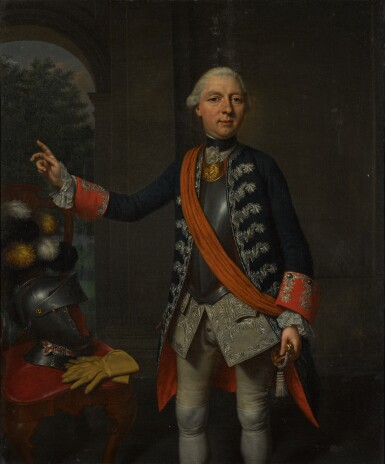 MATTHEUS VERHEYDEN | Portrait of William, Count of Schaumburg-Lippe (1724-1777),three-quarter-length, in red and blue frockcoat with silver embroidery