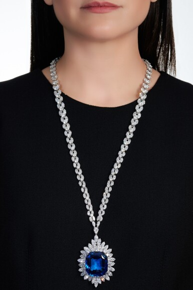 View 6. Thumbnail of Lot 173. Harry Winston | Impressive sapphire and diamond necklace | 海瑞溫斯頓 | 藍寶石配鑽石項鏈.