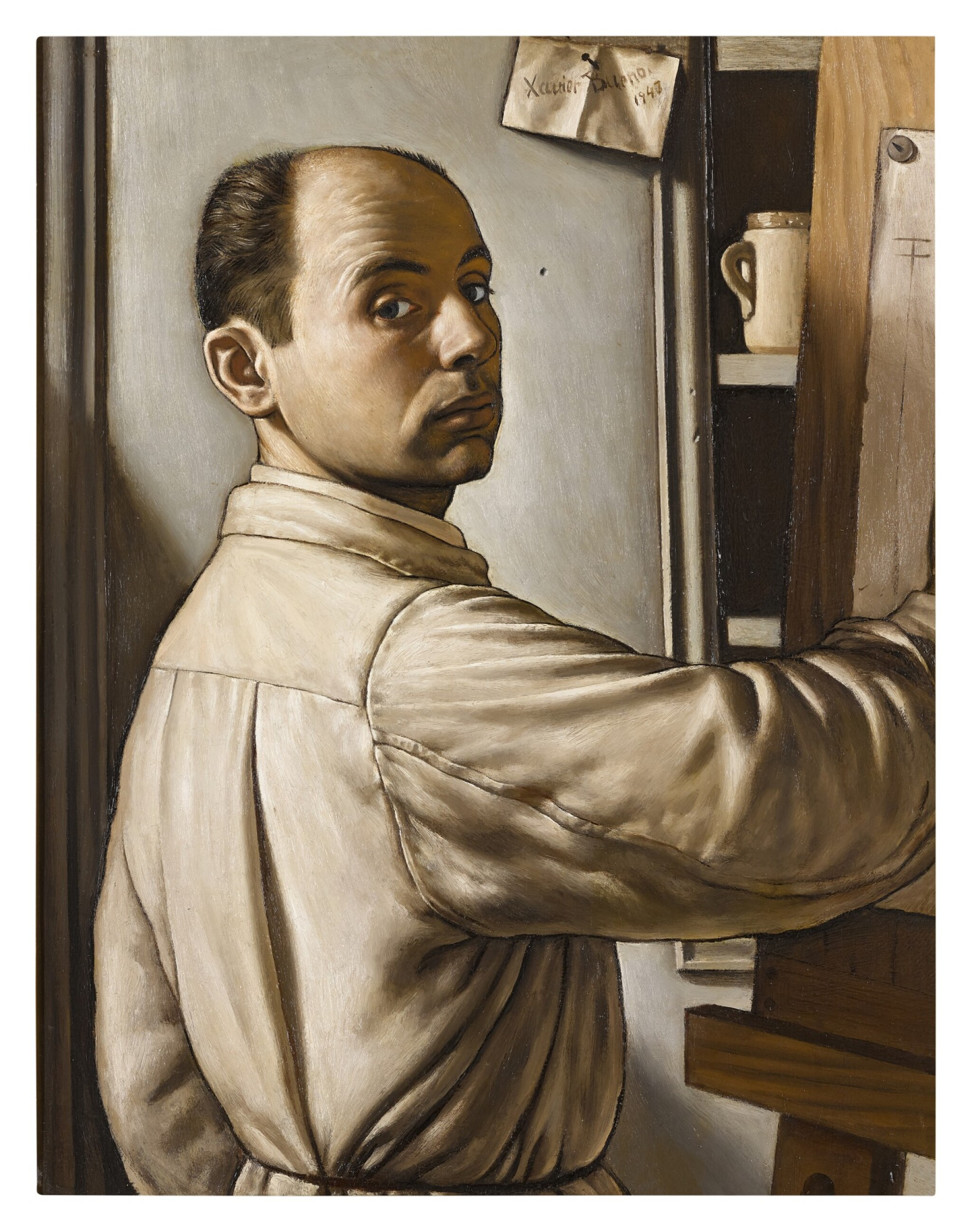 View full screen - View 1 of Lot 41. XAVIER BUENO  |  SELF-PORTRAIT OF THE ARTIST AT HIS EASEL, HALF-LENGTH, AGED 32.