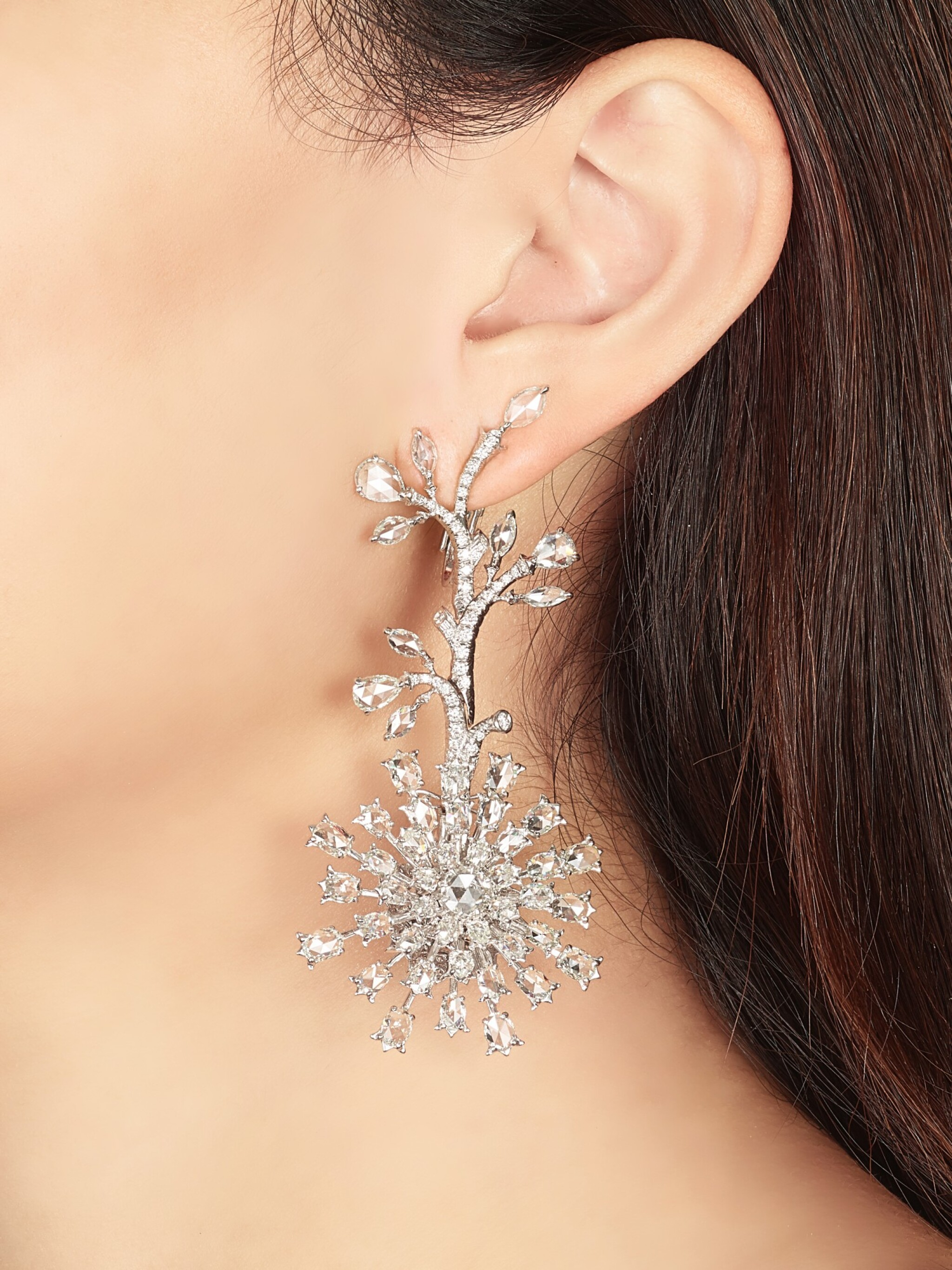 View full screen - View 1 of Lot 1416. VAK | 'CHRYSANTHEMUMS IN SUMMER' PAIR OF DIAMOND PENDENT EARRINGS |  VAK | 'Chrysanthemums in Summer' 鑽石吊耳環一對.
