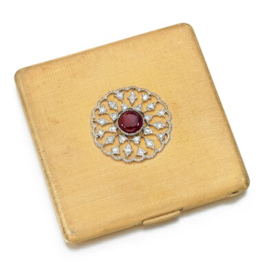 View 1. Thumbnail of Lot 127. Buccellati   Ruby and diamond compact.