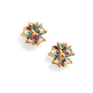 View 1. Thumbnail of Lot 69. Giodoro, Pair of gem-set, cultured pearl and diamond ear clips [Paire de clips d'oreille pierres de couleur, perles de culture et diamants].