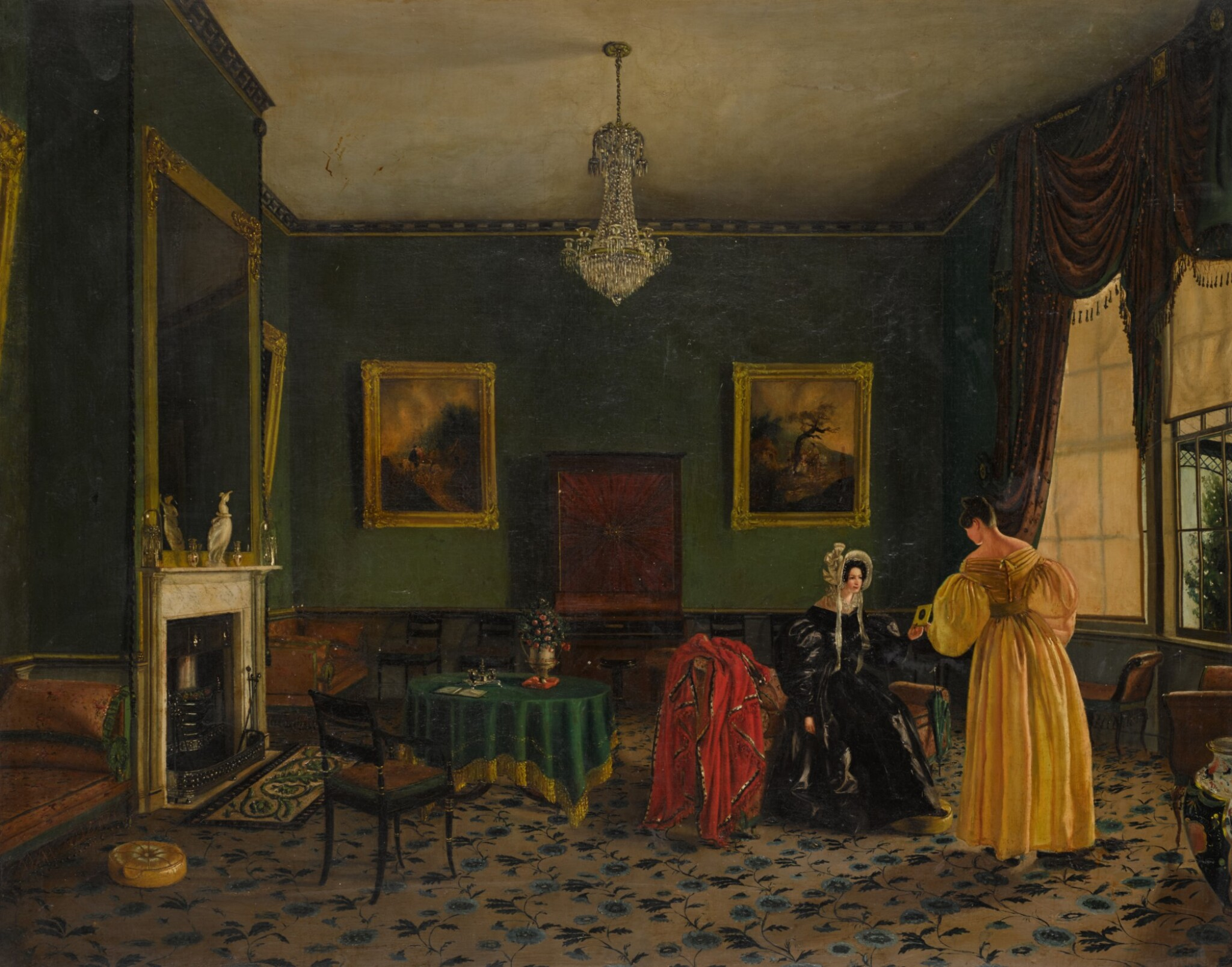View full screen - View 1 of Lot 212. ENGLISH SCHOOL, CIRCA 1830 | Elegant ladies in a townhouse interior.