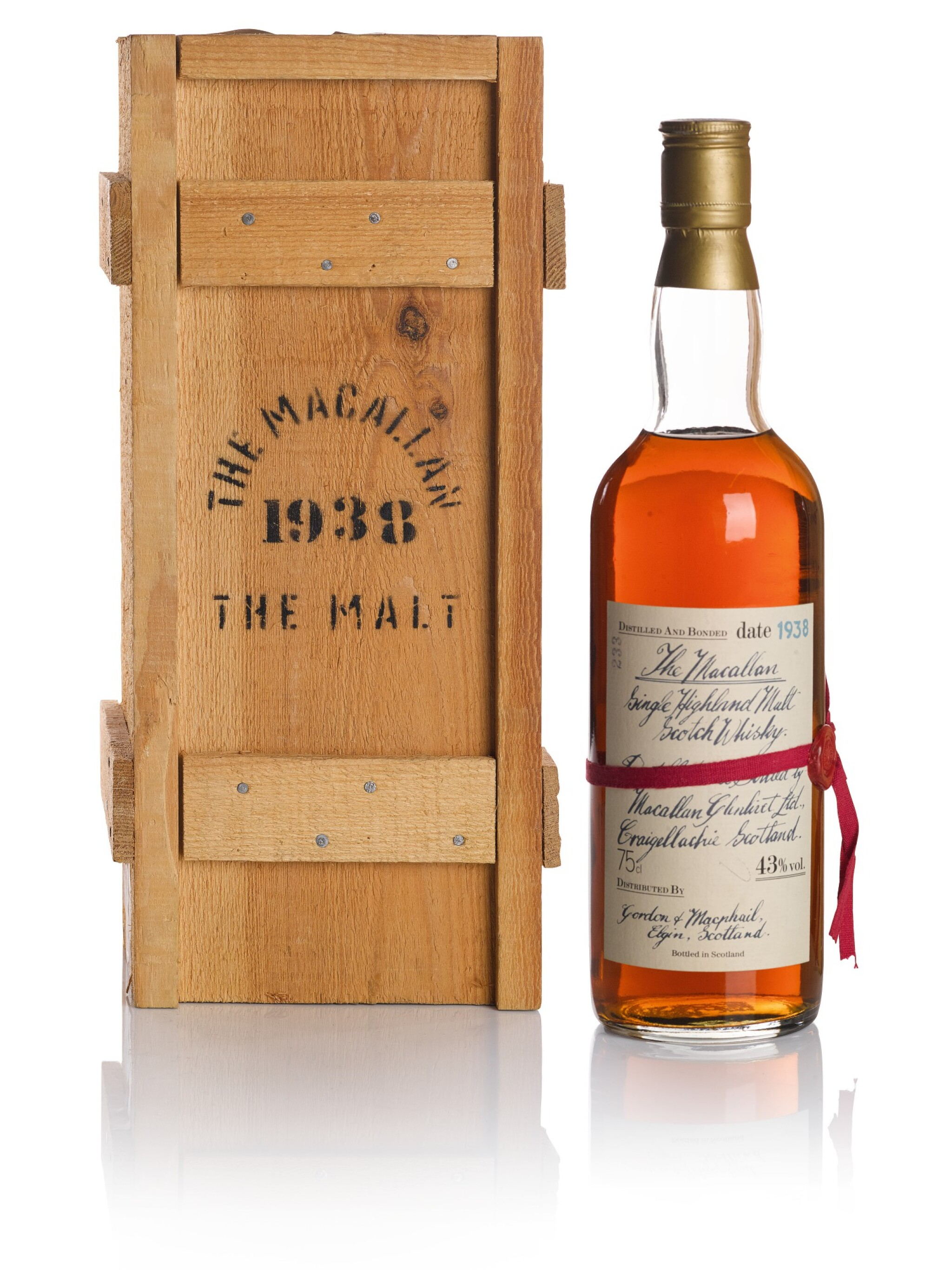 View full screen - View 1 of Lot 173. THE MACALLAN RED RIBBON 43.0 ABV 1938 .