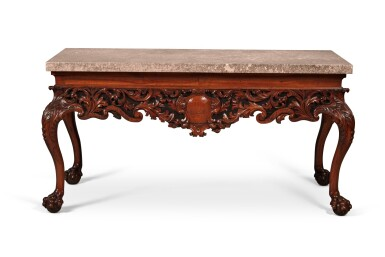 View 1. Thumbnail of Lot 111. An Irish George IV Carved Walnut Side Table, Circa 1820.