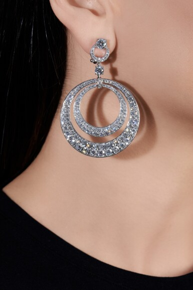 View 4. Thumbnail of Lot 631. Graff | Pair of diamond pendent earrings | 格拉夫 | 鑽石耳墜一對.
