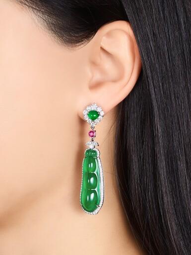 View 2. Thumbnail of Lot 1635. Pair of Jadeite, Diamond and Ruby Pendent Earrings | 天然翡翠雕「福豆」 配 鑽石 及 紅寶石 耳墜一對.