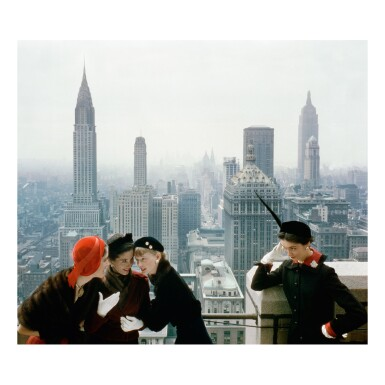 NORMAN PARKINSON | YOUNG VELVETS, YOUNG PRICES, HAT FASHIONS III (THE NEW YORK SKYLINE FROM THE ROOF OF THE CONDÉ NAST BUILDING ON LEXINGTON AVENUE)