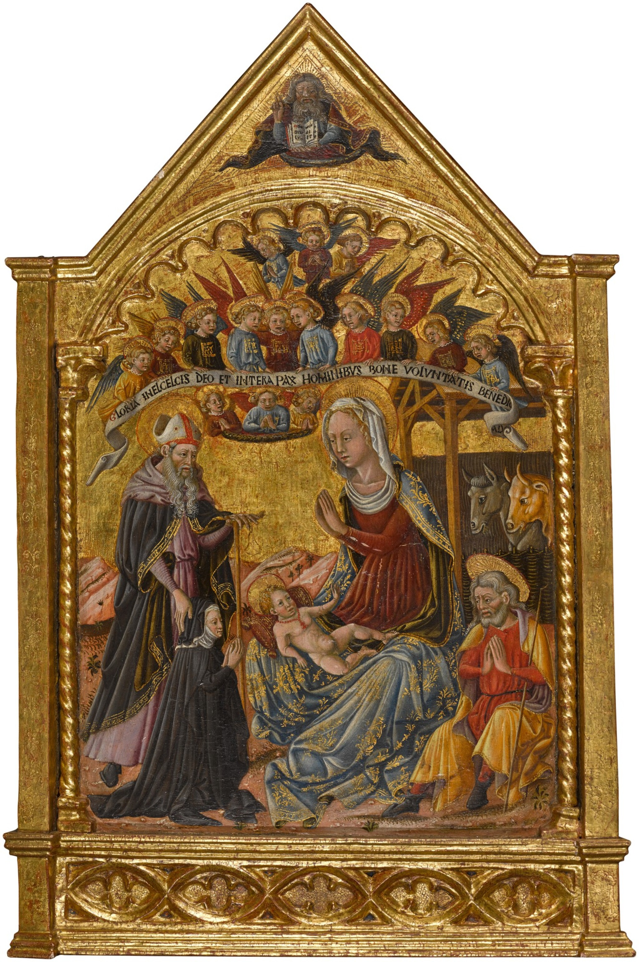 View full screen - View 1 of Lot 57. MASTER OF THE ANCONETTE FERRARESI  |  THE NATIVITY, WITH SAINT ANTHONY ABBOT AND A SUPPLICANT.
