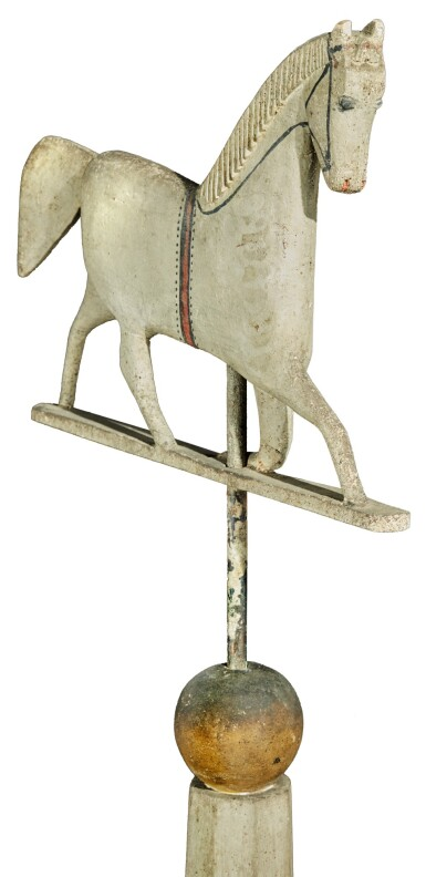 CARVED AND POLYCHROME PAINT-DECORATED PINE BIRDHOUSE WITH TROTTING HORSE WEATHERVANE, PROBABLY VERMONT, CIRCA 1880