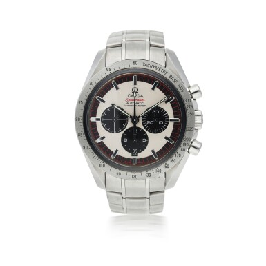 OMEGA   REFERENCE 35593200 SPEEDMASTER 'MICHAEL SCHUMACHER THE LEGEND SIXTH TITLE'  A LIMITED EDITION STAINLESS STEEL AUTOMATIC CHRONOGRAPH WRISTWATCH WITH DATE AND BRACELET, CIRCA 2005