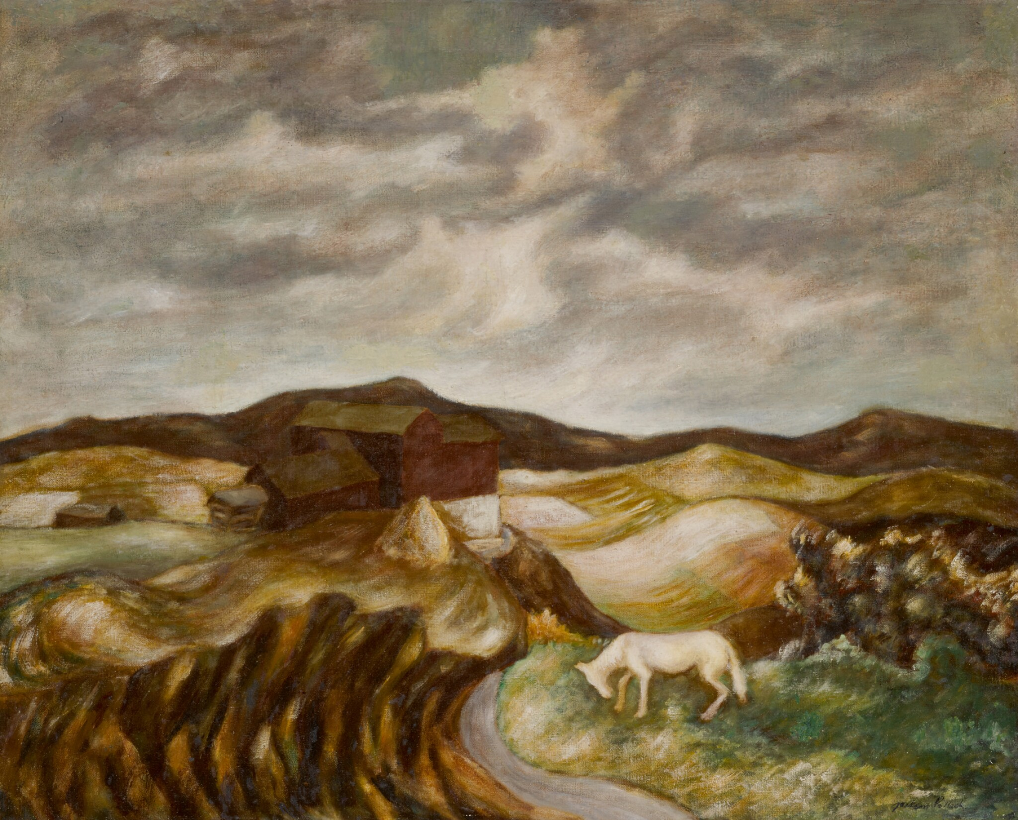 View full screen - View 1 of Lot 21. JACKSON POLLOCK   LANDSCAPE WITH WHITE HORSE.