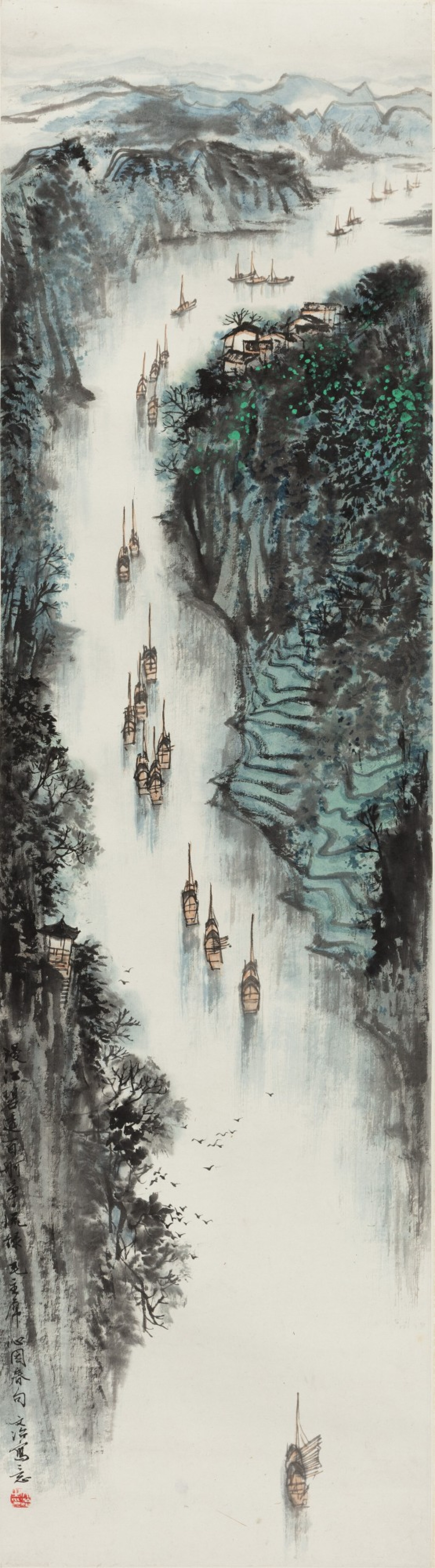 View 1 of Lot 138. Song Wenzhi (1919-1999) Naviguer sur la rivière | 宋文治 百舸争流圖 | Song Wenzhi (1919-1999) Sailing through the Stream.