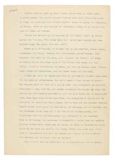 View 2. Thumbnail of Lot 65. PHILBY | Corrected typescript memoir of his childhood and early career in the KGB.