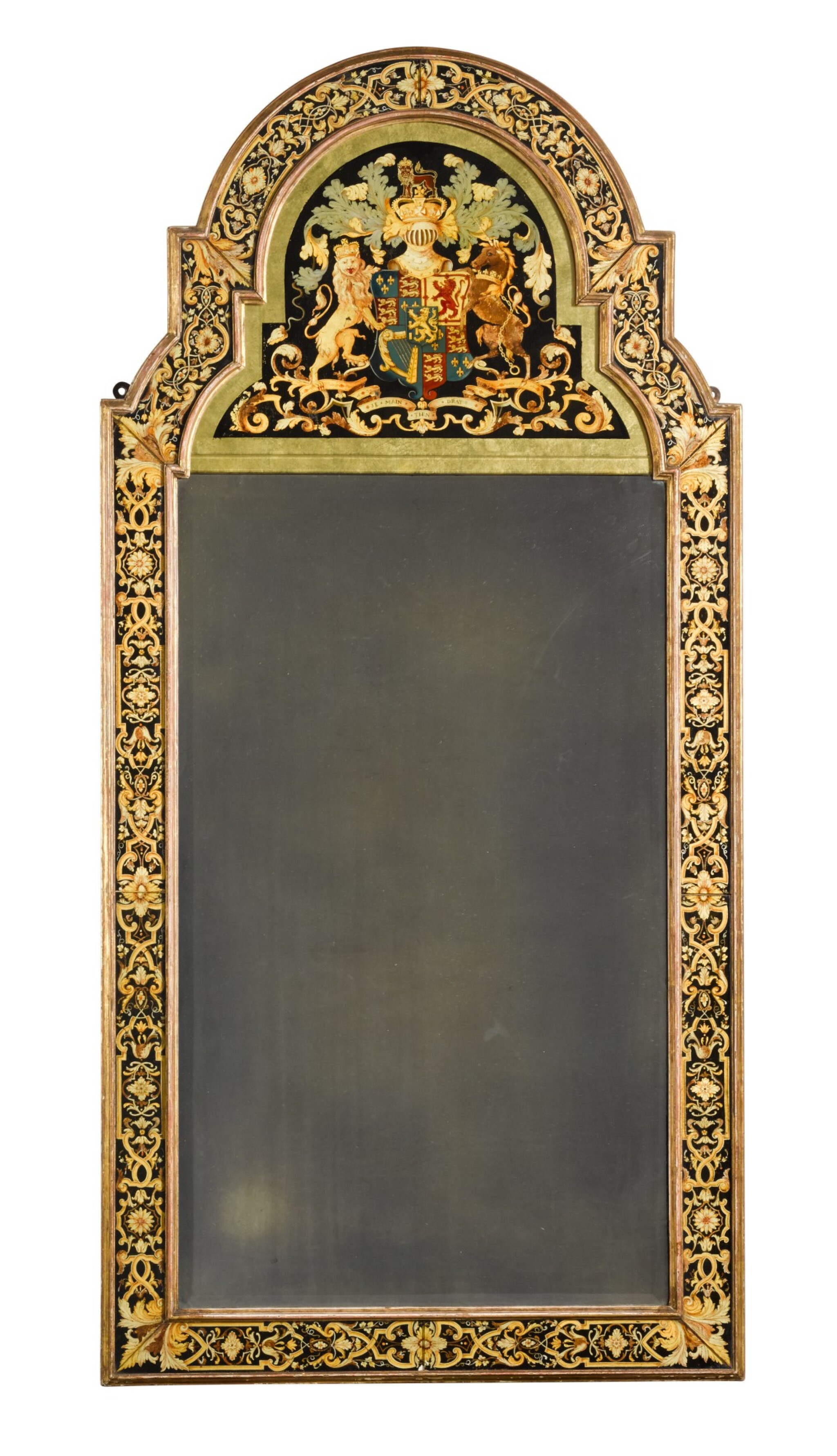View full screen - View 1 of Lot 40. A William III style polychrome and gilt verre eglomisé armorial marginal pier mirror, early 20th century.