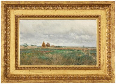 View 2. Thumbnail of Lot 26. IVAN PAVLOVICH POKHITONOV   LANDSCAPE WITH HAYSTACKS AND A FLOCK OF SHEEP.
