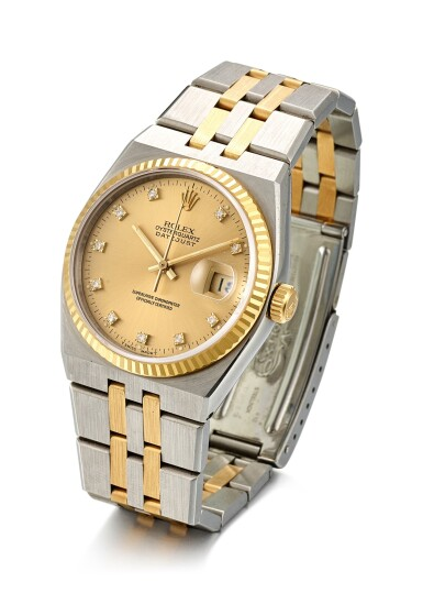 View 2. Thumbnail of Lot 8063. ROLEX   DATEJUST, REFERENCE 17013, A YELLOW GOLD, STAINLESS STEEL AND DIAMOND-SET WRISTWATCH WITH BRACELET, CIRCA 1986.