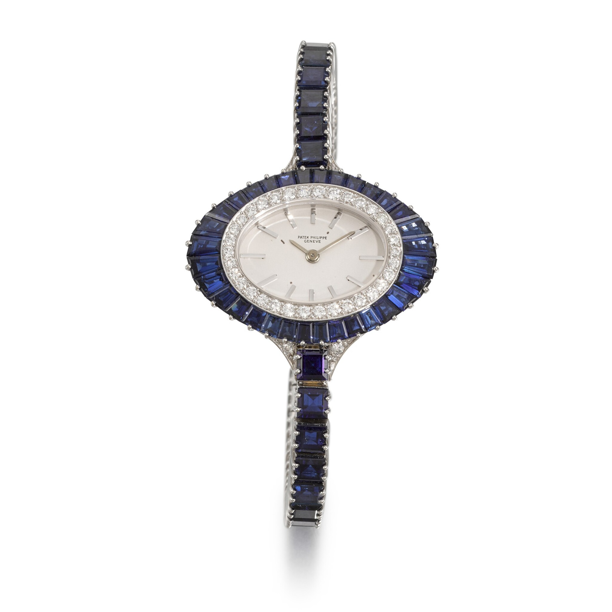 View full screen - View 1 of Lot 319. PATEK PHILIPPE | REFERENCE 4020/1, WHITE GOLD, DIAMOND AND SAPPHIRE-SET BRACELET WATCH, MADE IN 1973.