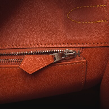 View 8. Thumbnail of Lot 15. Hermès Horseshoe Stamped (HSS) Bi-color Jaune D'Or and Sanguine Birkin 35cm of Epsom Leather with Palladium Hardware.