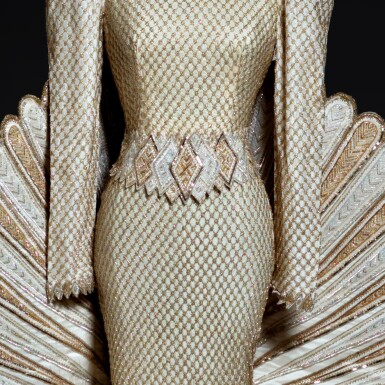 """View 4. Thumbnail of Lot 1. Haute Couture Full Length Dress with Extended Tail, Designed and Worn by Sherihan on the Television Show """"Alf Layla Wa Layla ('Thousand and One Nights')"""" in 1987. Executed in the Atelier by Adnan Akbar.."""