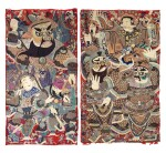 Deux grandes tentures d'opéra brodées circa 1900 | 約1900年 刺繡戲曲人物圖掛幅兩件 | Two large Chinese Opera embroideries, ca. 1900.