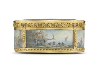 View 2. Thumbnail of Lot 30. A boîte-à-miniatures with three-colour gold mounts.