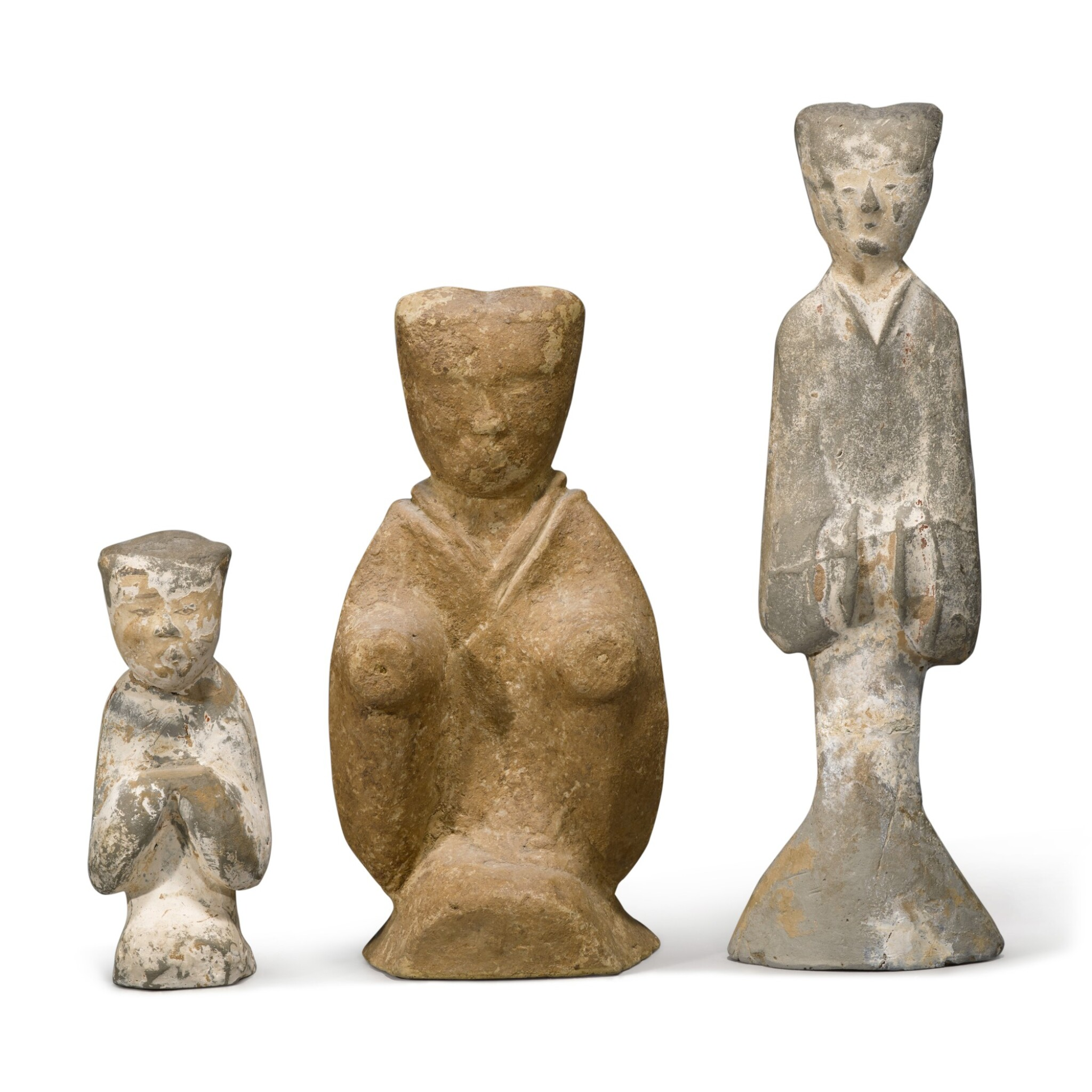 View full screen - View 1 of Lot 106. Three painted pottery figures, Han dynasty / Six dynasties.