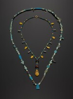 TWO EGYPTIAN FAIENCE BEAD NECKLACES, NEW KINGDOM, 1554-1075 B.C., AND LATER
