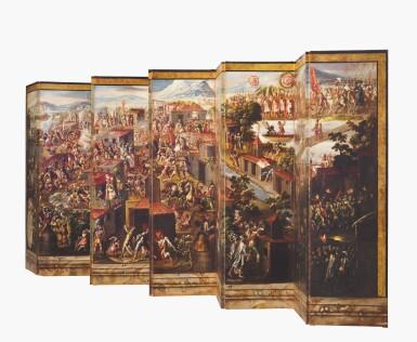 View 3. Thumbnail of Lot 1. ANONYMOUS, MEXICAN SCHOOL (17TH CENTURY) | BIOMBO DE LA CONQUISTA DE MÉXICO Y VISTA DE LA CIUDAD DE MÉXICO.