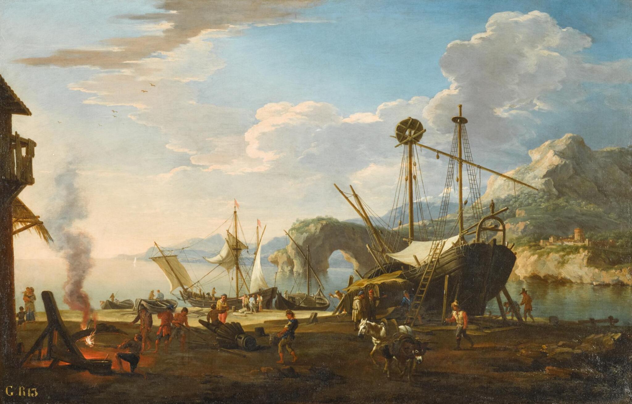 View full screen - View 1 of Lot 10. JACOB DE HEUSCH | A capriccio harbour scene in a mediterranean bay.
