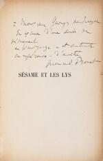 La Bible d'Amiens. [Et :] Sésame et les Lys. Les deux exemplaires avec un envoi a.s.