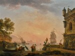 CLAUDE-JOSEPH VERNET | A Mediterranean harbour scene at sunset, with fishermen pushing off a rowing boat beside a fortress, a British warship beyond | 克勞德・約瑟夫・維爾內 | 《黃昏下的地中海港口景致,堡壘旁的漁民將划艇撐離岸邊,遠眺英國軍艦》
