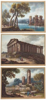 A) View of The Temple of Concord, Agrigento B) View of The Temple of Vulcan, Agrigento C) View of the Lake of Averno and The Temple of Proserpina near Naples
