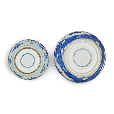 View 5. Thumbnail of Lot 31. Two blue and white jars and covers, Qing dynasty.
