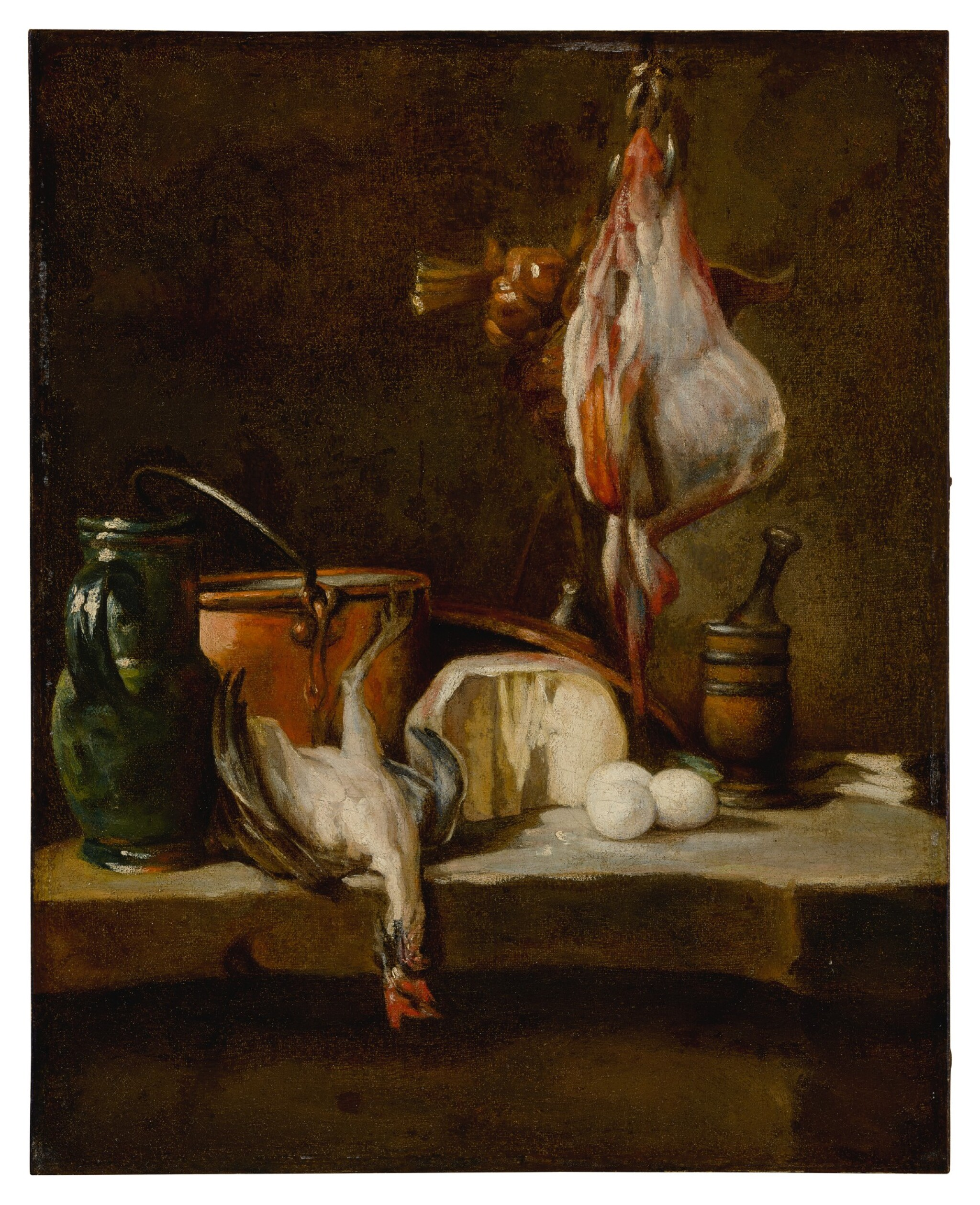 Still Life with a ray-fish, a basket of onions, eggs, cheese, a green jug and a copper pot, with a mortar and pestle on a stone ledge