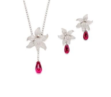 View 1. Thumbnail of Lot 1618.  'Caresse D'Orchidées' Rubellite and Diamond Demi-Parure   卡地亞   'Caresse D'Orchidées' 紅寶碧璽 配 鑽石 項鏈及耳墜套裝.