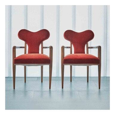 """View 1. Thumbnail of Lot 399. Pair of """"Coeur"""" Armchairs."""