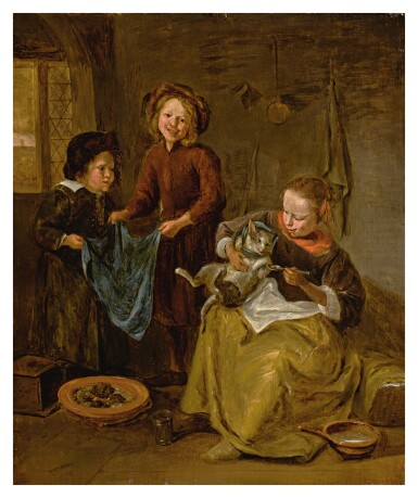 View 1. Thumbnail of Lot 6. FOLLOWER OF JAN STEEN | AN INTERIOR WITH THREE CHILDREN PLAYING WITH A CAT.